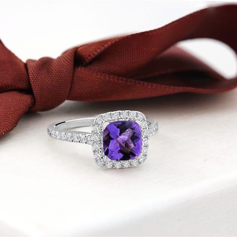 Auriya 3/4ct Fancy Cushion-cut Purple Amethyst and 1/2ctw Halo Diamond Engagement Ring 14kt Gold