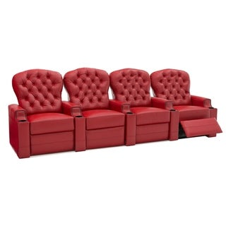 Seatcraft Lineage Home Theater Seating Leather Power Recline, Tufted Backrests, Nailhead Accent, USB Charging, Cup Holders