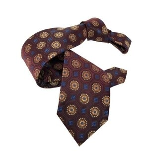 DMITRY Burgundy Patterned Italian Silk Tie