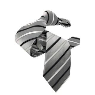 DMITRY Silver Grey Striped Italian Silk Tie