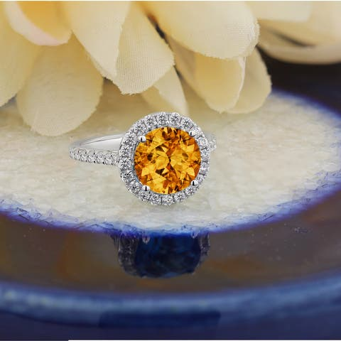 Auriya 3 1/3ct Fancy Cushion-cut Citrine and 5/8ctw Halo Diamond Engagement Ring 14kt Gold