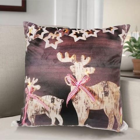 Reindeer LED Pillow 18x18