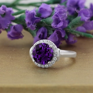 Auriya 2 1 5ct Round Purple Amethyst And Halo Diamond Engagement Ring 1 4ctw 14k Gold
