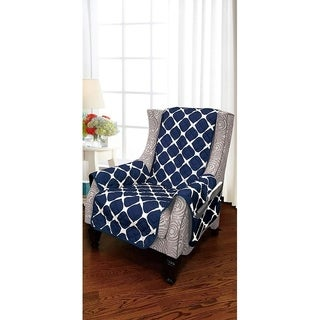 Elegant Comfort 2-Tone Bloomingdale Pattern Quilted Furniture Protector, Smart Pockets with Elastic Straps,Wing Chair