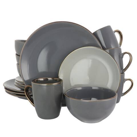 Elama Tahitian Grand 16 Piece Luxurious Stoneware Dinnerware Set in Stone/Slate