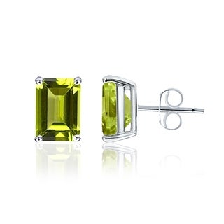 1.10 Cts Green Peridot Sterling Silver Stud Earrings by Orchid Jewelry