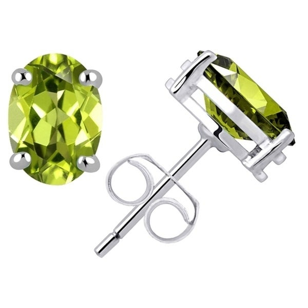 925 Sterling Silver Peridot Ear Stud Earrings Gemstone New Jewelry