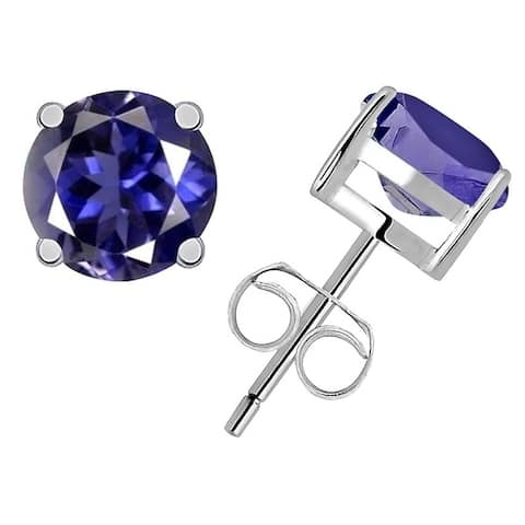 Sterling Silver 0.85 Ctw Blue Iolite Stud Earrings By Orchid Jewelry