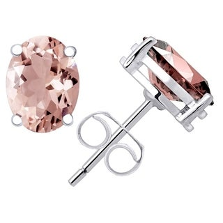 Sterling Silver Stud Earrings for Women 1.1 Cts Created Morganite