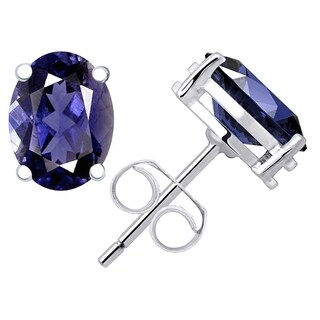 1.20 Cts Iolite 925 Sterling Silver Stud Earrings by Orchid Jewelry