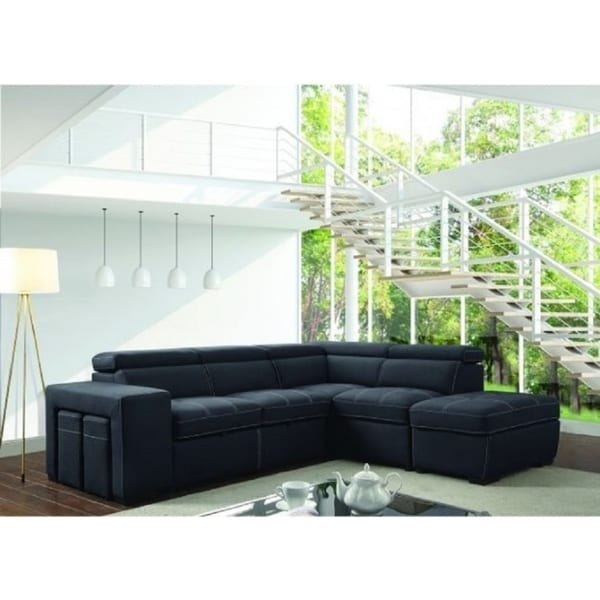Annaba Graphite Nubuck Fabric Contemporary Style Sectional Sofa