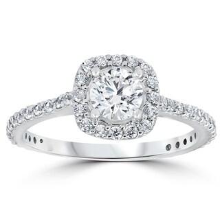Bliss Platinum 1 ct TDW Diamond Cushion Halo Engagement Ring