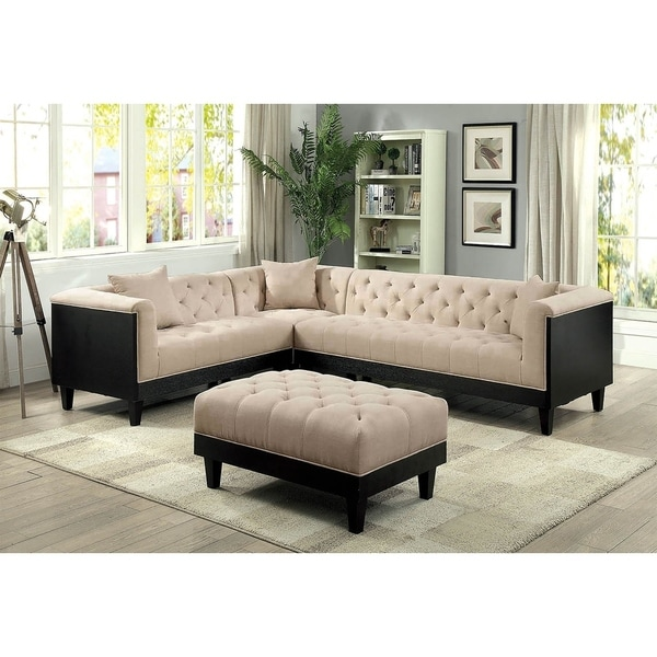 Patras Transitional Sectional Sofa Set in Beige Linen-like Fabric