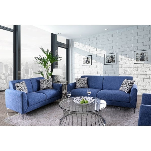 Lasi Contemporary Loveseat & Sofa in Blue Linen-Like Fabric & Pillows
