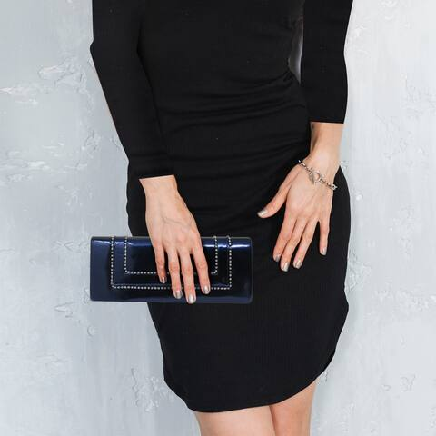 AFONiE Elegant Crystal Chain Deco Evening Clutch