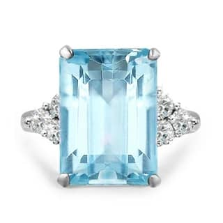 Royal Wedding Inspired 20ctw Emerald Cut Aquamarine Color Cocktail Ring