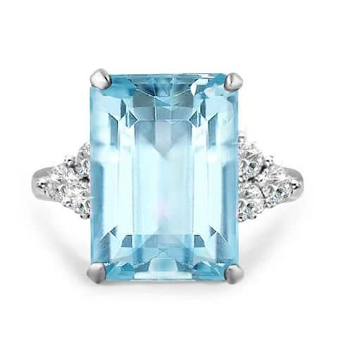 19.5 carat Emerald Cut Aquamarine Color Cocktail Ring