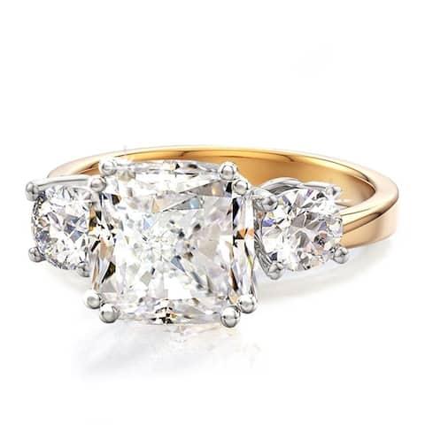 3 Stone Cushion CZ Royal Wedding Engagement Ring, Band