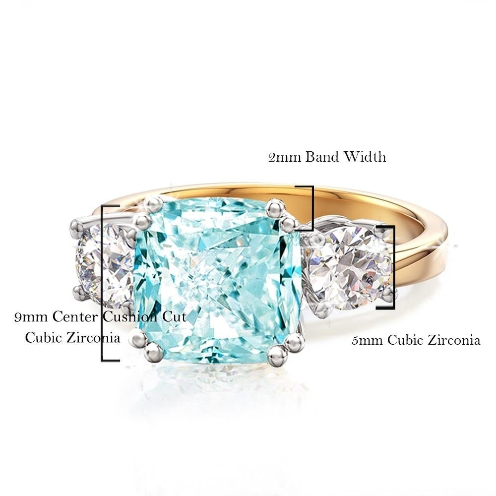Gold Plated 9mm Solitaire Cubic Zirconia Gem Paved Ring Gift Present Silver