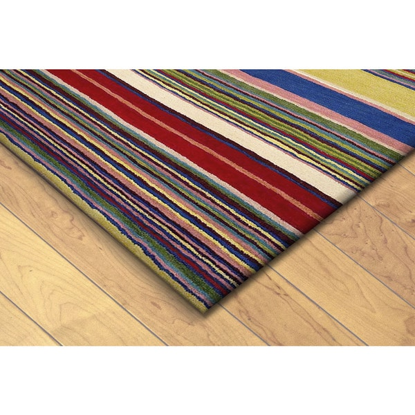Hand-tufted Inca Stripes Red/ Multi Wool Rug (3'5 x 5'5)