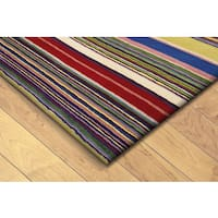 Hand-tufted Inca Stripes Red/ Multi Wool Rug (4'10 x 7'10) - 4'10 x 7'10