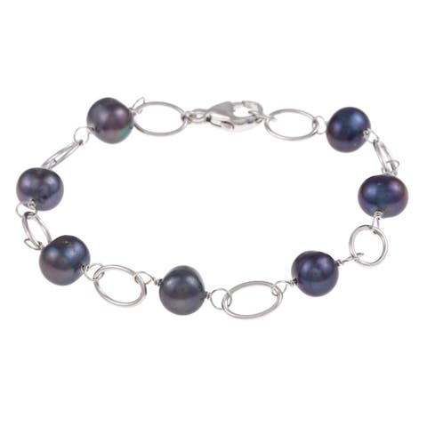 DaVonna Silver and Black Freshwater Pearl Link Bracelet (7-8 mm)
