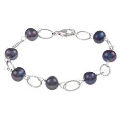 DaVonna Silver and Black FW Pearl Link Bracelet (7-7.5 mm)