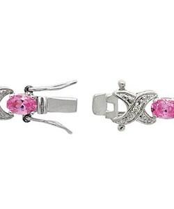 Icz Stonez Sterling Silver Pink CZ X and O Bracelet - Thumbnail 1