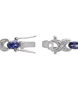 Icz Stonez Sterling Silver Royal Blue CZ 'X' and 'O' Bracelet