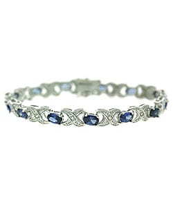 Icz Stonez Sterling Silver Royal Blue CZ 'X' and 'O' Bracelet