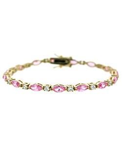 Icz Stonez Gold Over Sterling Silver Pink CZ Bracelet