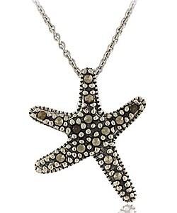 Glitzy Rocks Sterling Silver Marcasite Starfish Necklace