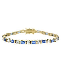 Icz Stonez 18k Gold over Sterling Silver Blue CZ Bracelet
