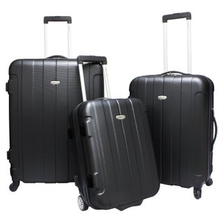 Traveler's Choice Rome 3-piece Hardside Lightweight Spinner/Rolling Luggage Set (Option: Royal Black)