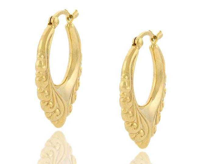 Mondevio 18k Gold over Sterling Silver Vintage Design Earrings - Thumbnail 0