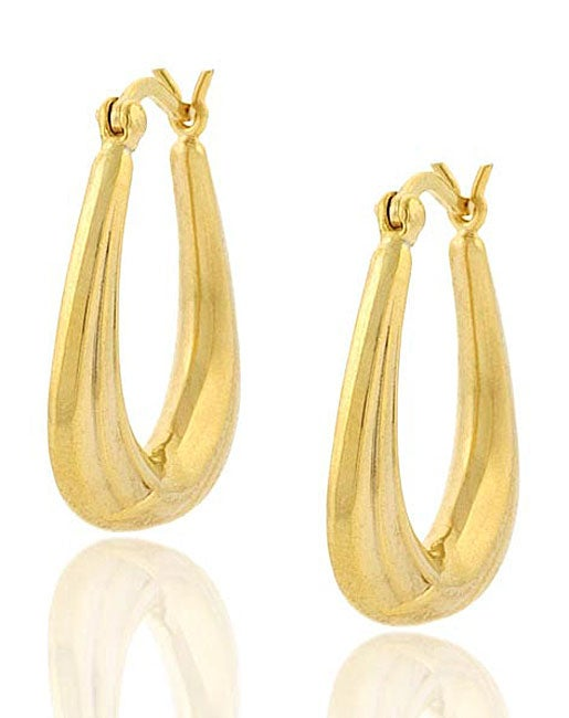 Mondevio Gold Over Sterling Silver Triangle Earrings