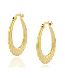 Mondevio 18k Gold over Sterling Silver Vintage Leaf Earrings