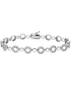 Icz Stonez Sterling Silver CZ Eternity Circle Bracelet