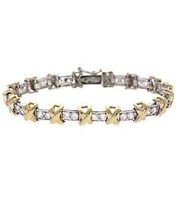 Icz Stonez 18k Gold over Sterling Silver CZ X-and-O Bracelet