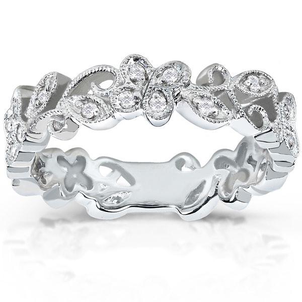 Annello by Kobelli 14k White Gold 1/5ct TDW Floral Diamond Band