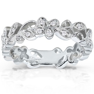 Annello by Kobelli 14k White Gold 1/5ct TDW Floral Diamond Band (H-I, I1-I2)