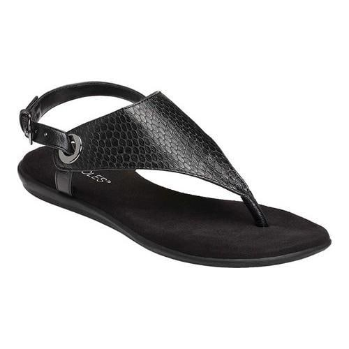 Women's Aerosoles Conchlusion Sandal Black Exotic Snake Embossed Faux Leather