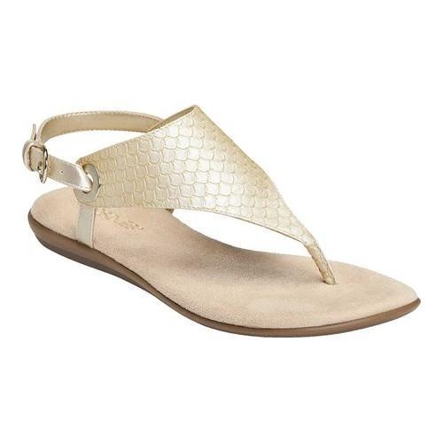 7e69b58a8 Women  x27 s Aerosoles Conchlusion Sandal Gold Metallic Snake Embossed Faux  Leather