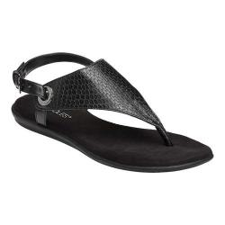 Women's Aerosoles Conchlusion Sandal Black Exotic Snake Embossed Faux Leather - Thumbnail 0