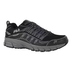 Men's Fila Memory Primeforce Slip-Resistant Trail Runner Black/Metallic Silver/Castlerock
