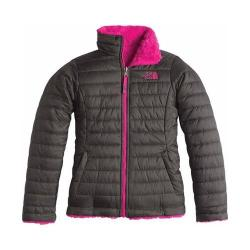 Girls' The North Face Reversible Mossbud Swirl Jacket Graphite Grey/Cabaret Pink