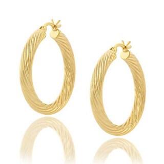 Mondevio 18k Gold Overlay Sterling Silver Hoop Earrings