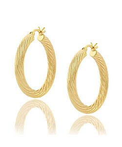 Mondevio 18k Gold Overlay Sterling Silver Hoop Earrings