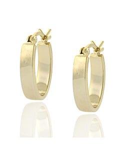 Mondevio 18k Gold Overlay Sterling Silver Mini Oval Earrings