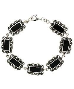 Glitzy Rocks Sterling Silver Onyx and Marcasite Link Bracelet